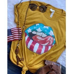Tops - Mustard USA American Flag Sexy Lip Graphic T-Shirt